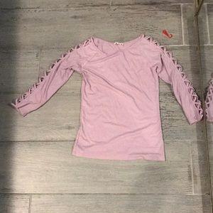 Pink lace up shirt